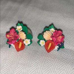 Tropical flower earrings, pierced